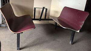 3 Sets Formed Plywood Red Maroon Booths Restaurant Cafe Diner Seats Vintage