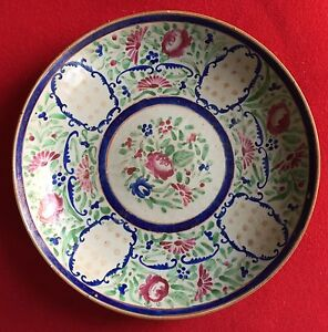 Large Antique 18th C Chinese Export Porcelain Plate Bowl Charger Famille Rose