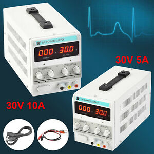 30v Digital Dc Power Supply Variable Adjustable Dual Led Display Lab Test 10a 5a