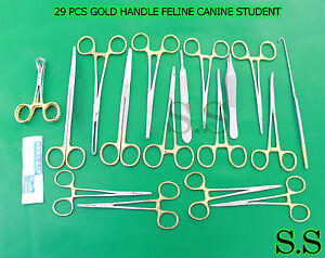 29 Pcs Gold Handle Feline Canine Student Dissection Spay Pack Kit Blade