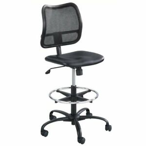 Bowery Hill Faux Leather Drafting Chair In Black