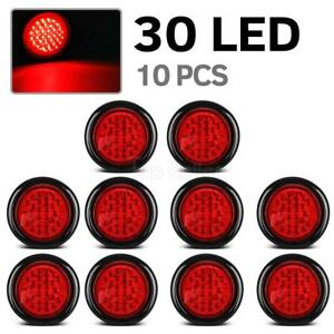 4 Inch Red 30 Led Round Stop turn tail Truck Light With Grommet