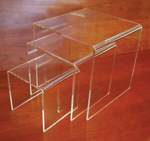 Acrylic Merchandise Pos Display Table Store Fixture Riser Clear Set Of 3 New