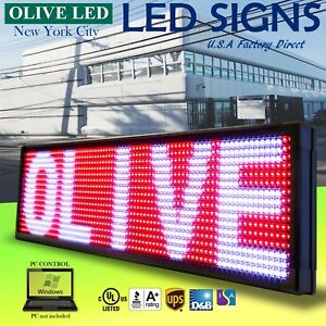 Olive Led Sign 3color Rwp 15 x53 Pc Programmable Scroll Message Display Emc