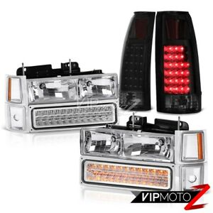 94 98 Chevy Silverado Sinister Black Taillamps Chrome Headlights Signal Parking