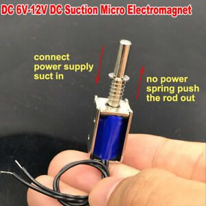 6v 12v Dc Suction Micro Electromagnet Spring Push Pull Type Rod Solenoid Magnets