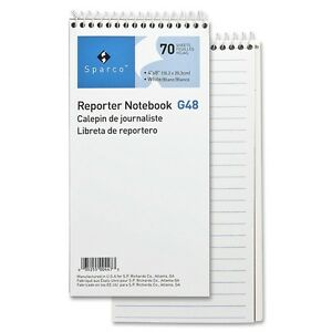 Sparco Reporter s Notebook 70 Sheets Printed Spiral 4 X 8 White