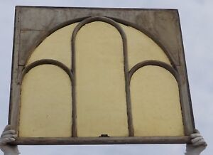 Antique Arched Dome Amber Stained Glass Window Sash Old Shabby Vtg Chic 2366 16