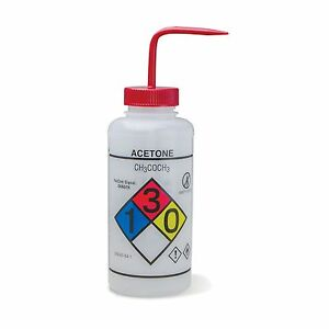 1000ml Acetone Wash Bottles Vented Right To Know Ghs 2 Pk
