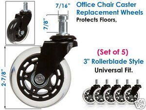 5pcs Office Chair Rollerblade 3 Wheels Style Casters Replacement Universal Fit