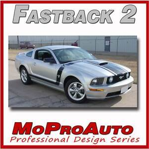 2005 2009 Ford Mustang Gt V6 Fastback 2 Stripe Graphic Decals 3m Series Pd1459