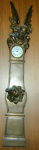 Museum Quility Antique French Bronze Father Time New Year Baby Wall Clock
