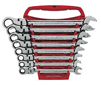 Gearwrench 9701 8 Piece Flex Head Combination Ratcheting Wrench Set Sae