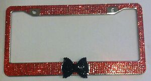 7 Rows Light Red Bling Rhinestone Black Bow Tie License Plate Frame
