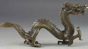 Old Chinese Brass Dragon Exorcism Oriental Statue Big Decor