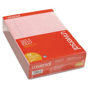 Universal Colored Perforated Note Pads 8 1 2 X 11 Pink 50 Sheet Dozen