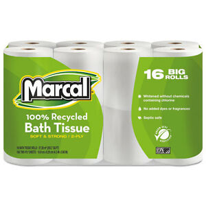 Marcal 100 Recycled Two ply Bath Tissue White 96 Rolls carton