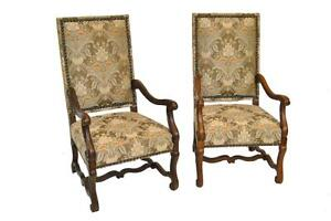 Pair Of Large Scale Dutch Style Brass Tack Chairs