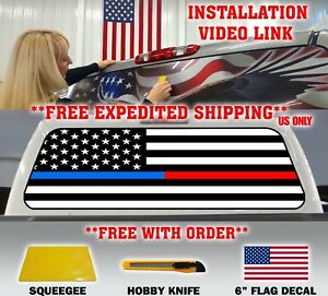 Blue Red Line Police Firefighter American Flag Pickup Truck Rear Window Decal