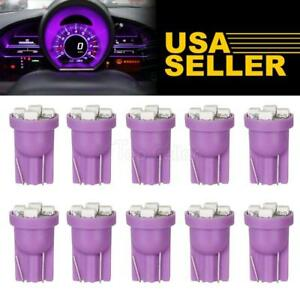 10x Purple T10 W5w 168 194 4 Smd Led Dash Instrument Cluster Gauge Light Bulbs