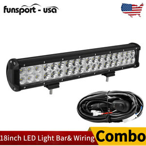 Led Light Bar 20inch 294w Flood Spot Bumper Driving Jeep Pickup Offroad Harness