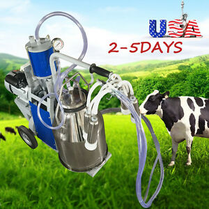 Portable Electric Vacuum Pump Milking Machine 25l Bucket For Cows Sheep