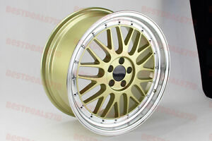 18 Gold Machine Face Lm Style Rims Wheels Fit Beetle Tdi Passat Golf Jetta 5100