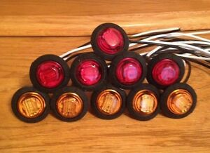 3 4 Round Red Amber Led Lights Truck Trailer Clearance Marker Lights Qty 10