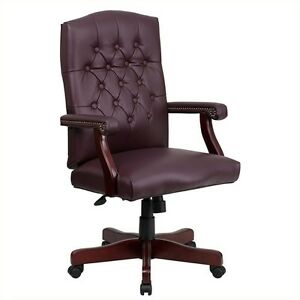 Flash Furniture Martha Washington Leather Swivel Office Chair In Burgundy