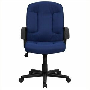 Flash Furniture Mid Back Office Chair With Nylon Arms In Navy