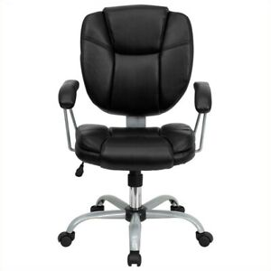 Flash Furniture Mid Back Leather Task And Office Chair In Black