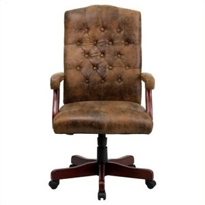 Flash Furniture Classic Executive Office Chair In Bomber Brown