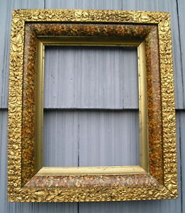Antique Eastlake Victorian Marbled Gilt Sight Floral Edge Picture Frame 8 X 10