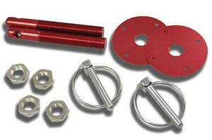Red Hood Pin Kit Flip Over Style Universal For Chevy Ford Mopar Hot Rod Etc