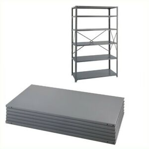 Safco Steel 6 Pack Shelving Kit With Posts 24 X 48 In Gray