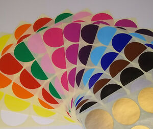 38mm 45mm Round Blank Price Stickers Coloured Labelling Code Dots Sticky Labels