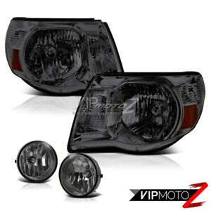 For 2005 2011 Toyota Tacoma X runner Smoke Tinted Headlights Headlamps Foglamps