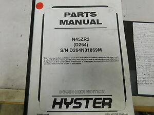Hyster N45zr2 D264 Electric Reach Truck Forklift Service Parts Manual e33 2235