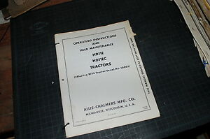 Allis Chalmers Hd11e Hd11edtractor Crawler Dozer Owner Operator Manual Book 1964