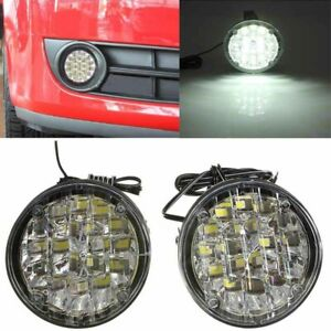 2pcs 12v 18led Round Car Fog Lamp Driving Drl Daytime Running Bright White Light