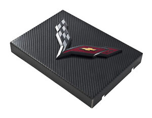 C7 Corvette Black Carbon Fiber Fuse Box Cover W Black Crossed Flags Emblem