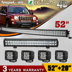 Curved 52inch Led Light Bar 20 Spot Flood 4 Pods For Ford Jeep 4x4 Truck 54