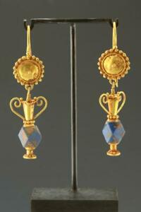 Roman Empire Greek Gold Lapis Earrings Persian Circa 1st To 3rd Century Ad