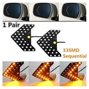 2pcs 33 Smd Yellow Sequential Led Arrows For Car Side Mirror Turn Signal Lights