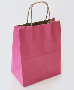 Colorful Cub Paper Shopping Carry Bags Retail Store Pink Stripe Lot Of 250 New