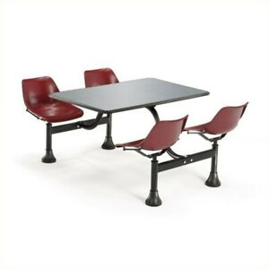 Ofm Outdoor Table 24 X 48 And 4 Chairs In Maroon