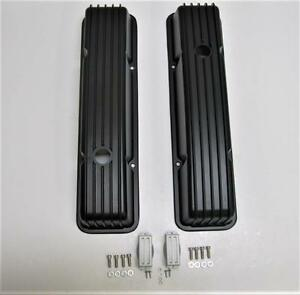 Sbc Small Block Chevy 283 305 350 Retro Finned Aluminum Tall Valve Covers Black