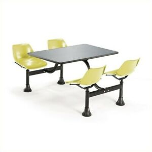 Ofm Outdoor Table 24 X 48 And 4 Chairs In Yellow