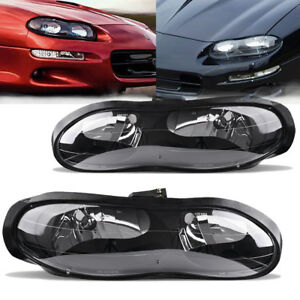 For 1998 2002 Chevy Camaro Z28 Z28 Ss Black Clear Headlights Headlamps Assembly