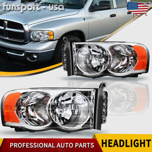 For 2002 2005 Dodge Ram 1500 2500 3500 Chrome Headlights Headlamps Left right